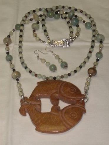 Detailed Hand Carved Fish Agate Necklace