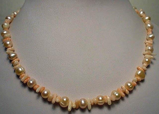 Coral and Freshwater Pearl Necklace
