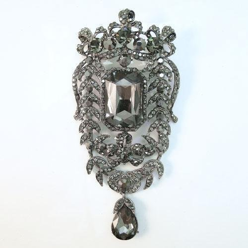 Huge 4.5 inch Black Swarovski Crystal Floral Desig