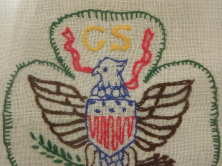 Girl Scouts Vintage Needlepoint Sign Framed - 2