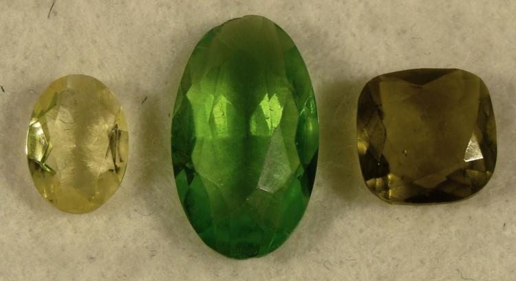 3 Green Peridot, Yellow Gemstones Oval, Pillow Cut