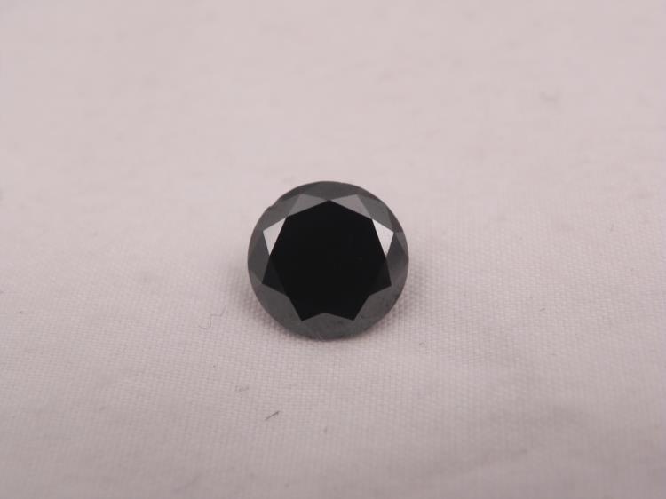 GORGEOUS 3.06 CT CERTIFIED ROUND CUT BLACK DIAMOND