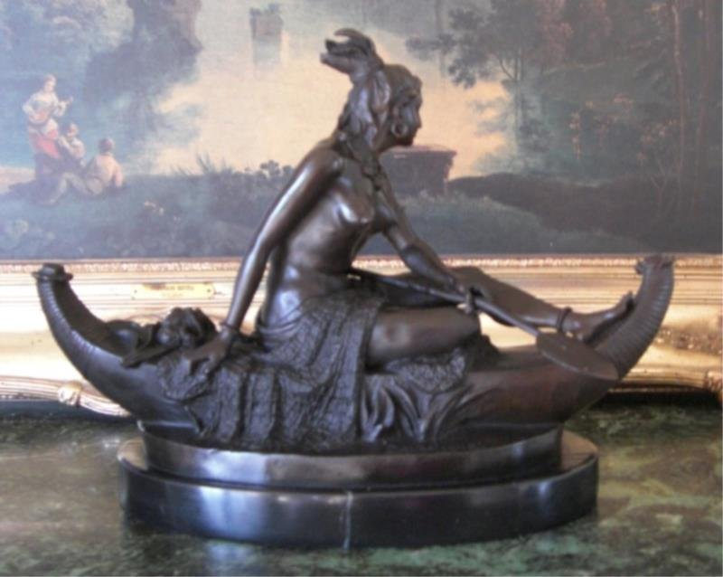 Native American Squaw in Canoe Bronze Sculpture