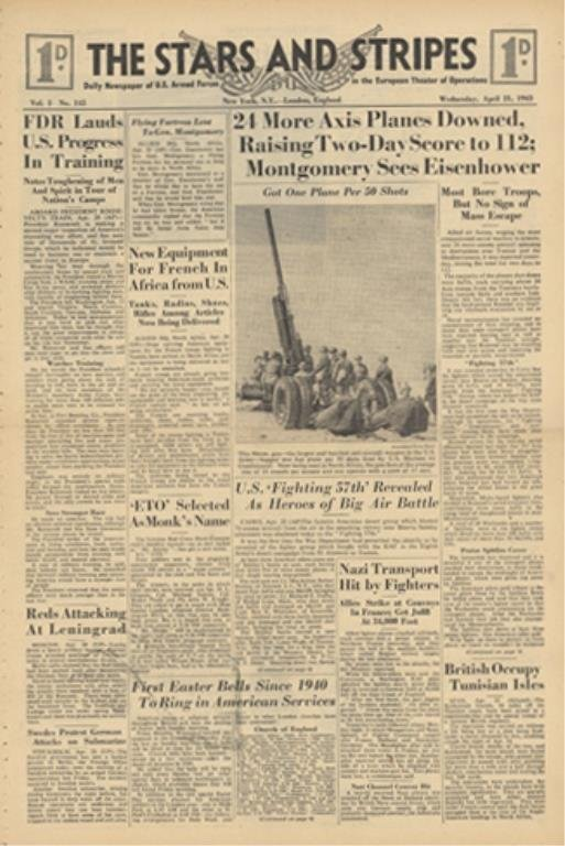 STARS AND STRIPES Newspaper Dated, April 21 1943