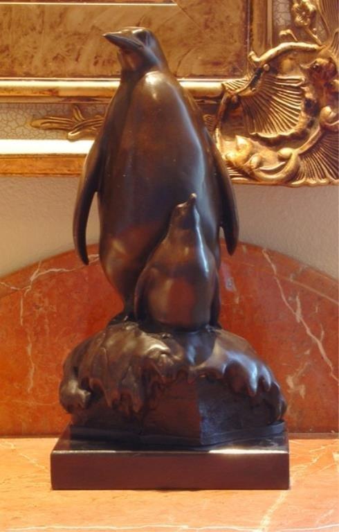 Charming Penguin Pair Bronze Sculpture