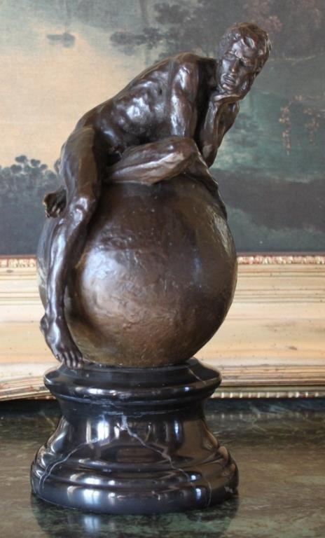 Nude Male on Globe Bronze Sculpture