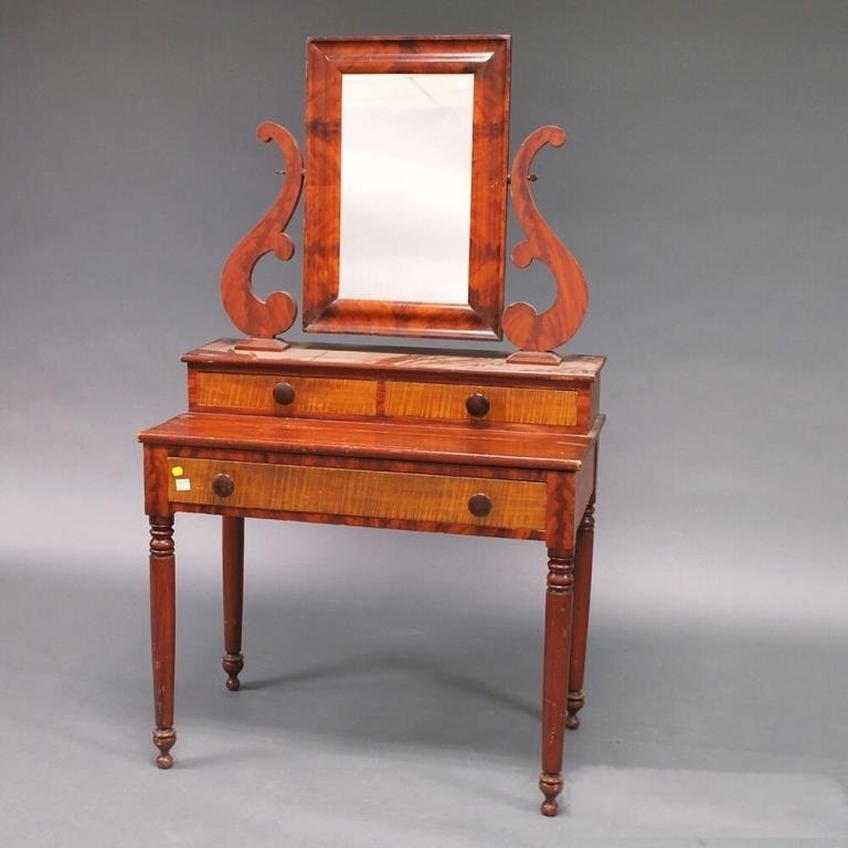 Classical Faux Bois Poplar Mirrored Dressing Table