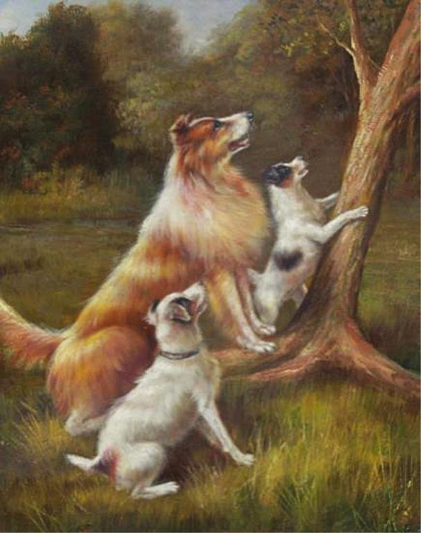 8 X 10 Oil on Board ~Puppies at Play~