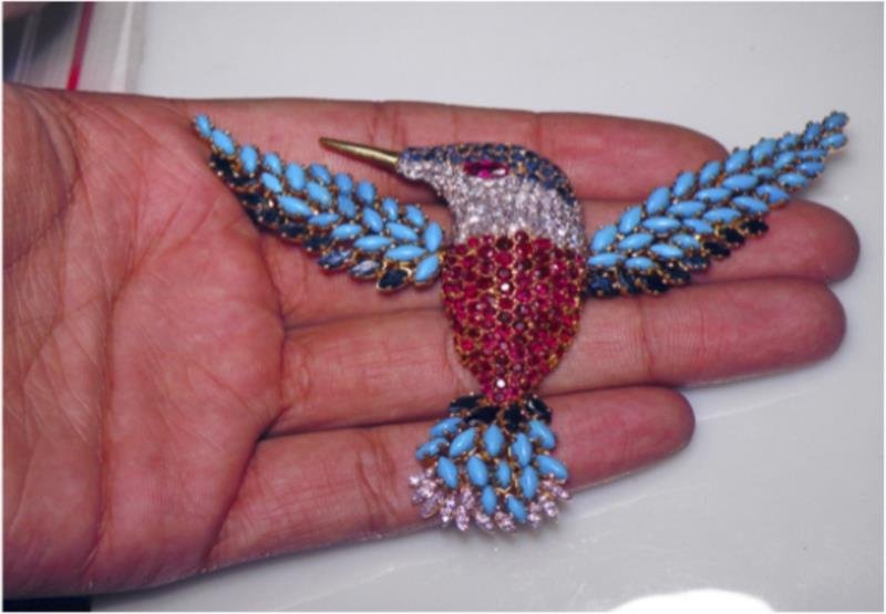 18K Gold, Diamond and Multi Gem Hummingbird Brooch