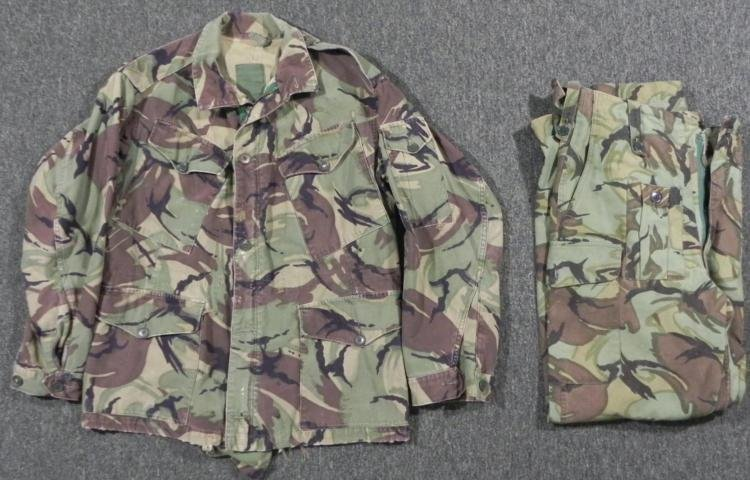 BRITISH ARMY CAMOUFLAGE COMBAT JACKET AND COMBAT PANTS