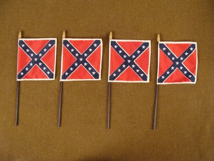 FOUR VINTAGE CONFEDERATE FLAGS