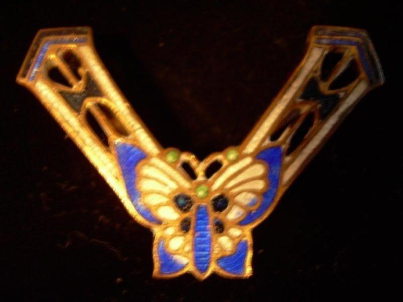 Vintage Victorian Enamel Butterfly Brooch