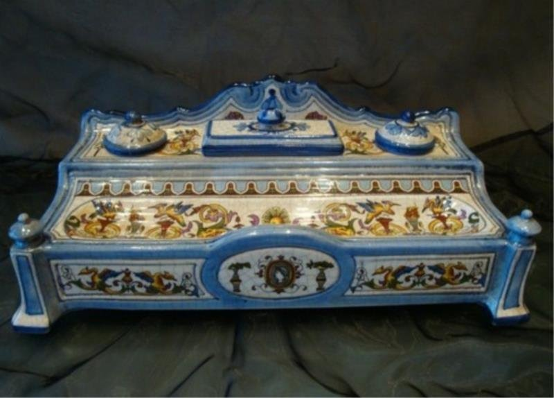 French Porcelain Blue Inkwell for Desk