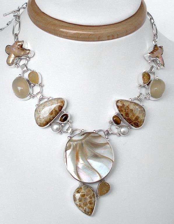 ARTISAN BLISTER PEARL FOSSIL CORAL DRUZY NECKLACE