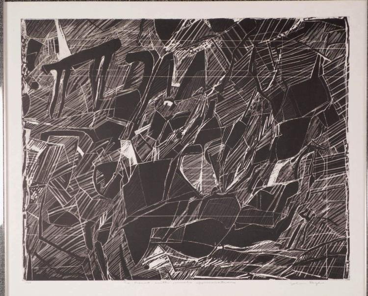 John Byle Signed Artist Proof Print B & W Abstract
