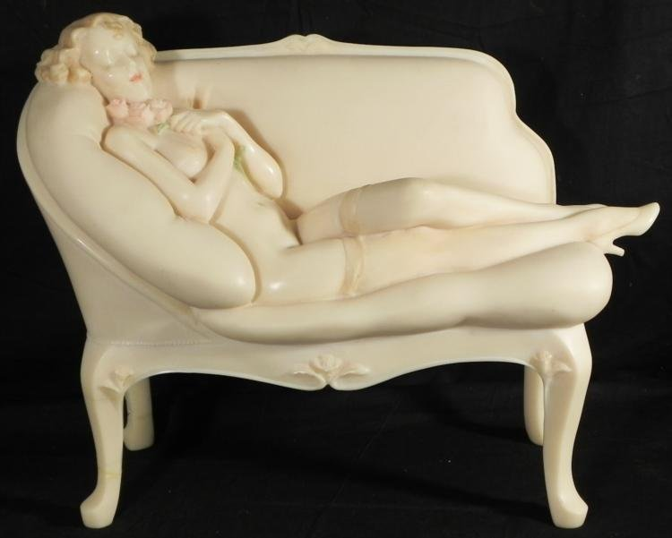 Emily Kaufman Original Sculpture Girl on Fainting Couch