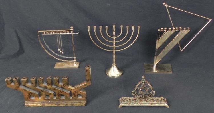 5 Chanukah Menorahs: Old, Traditional, Modern, 14K GP