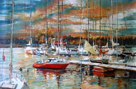 Marina al Atardecer 3 Original Oil by Saco 24x36