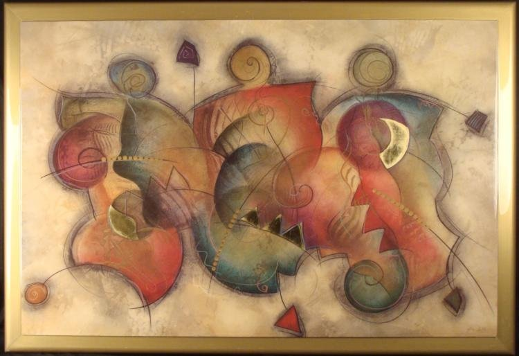Large Abstract Art Print EWG Gold Foil on Board/ Frame