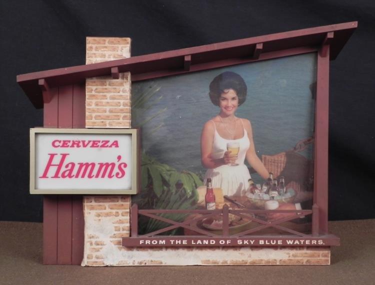 VINTAGE ELECTRIC HAMM'S CERVEZA BEER ADVERTISING SIGN