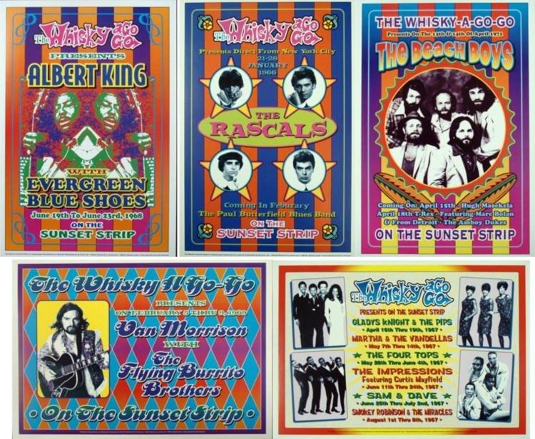 5 1960s Rock Concert Repro Posters Pop, Motown