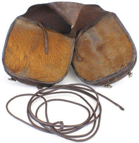 LEATHER SADDLEBAGS WITH LEATHER RANCHO ROPE