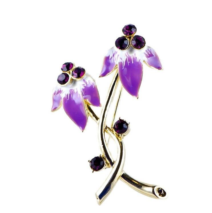 Lovely Lavender Ruby Crystal Brooch