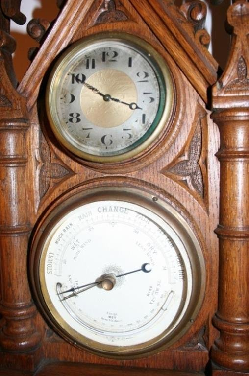 GOTHIC STYLE, OAK WALL CLOCK & BAROMETER, C.1920,