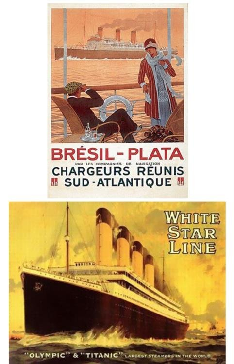 2 Steamship Posters Olympic & Titanic, Bresil-Plata