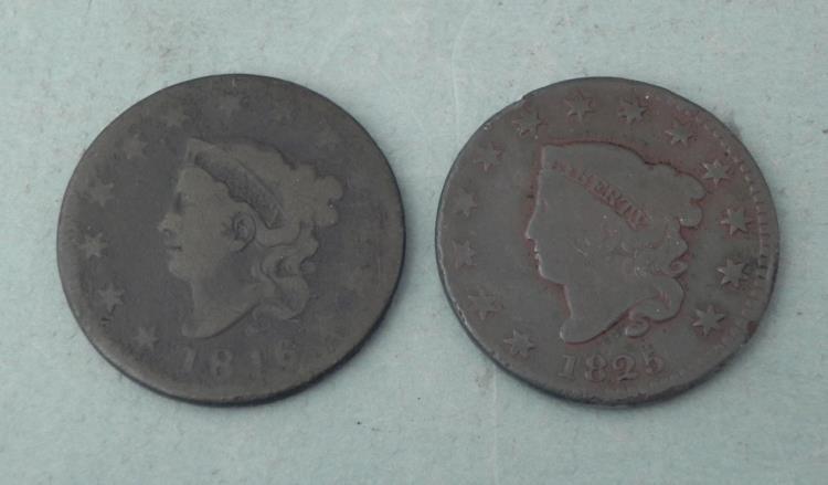 2 Large Cent Coronet Head Pennies 1916 & 1925