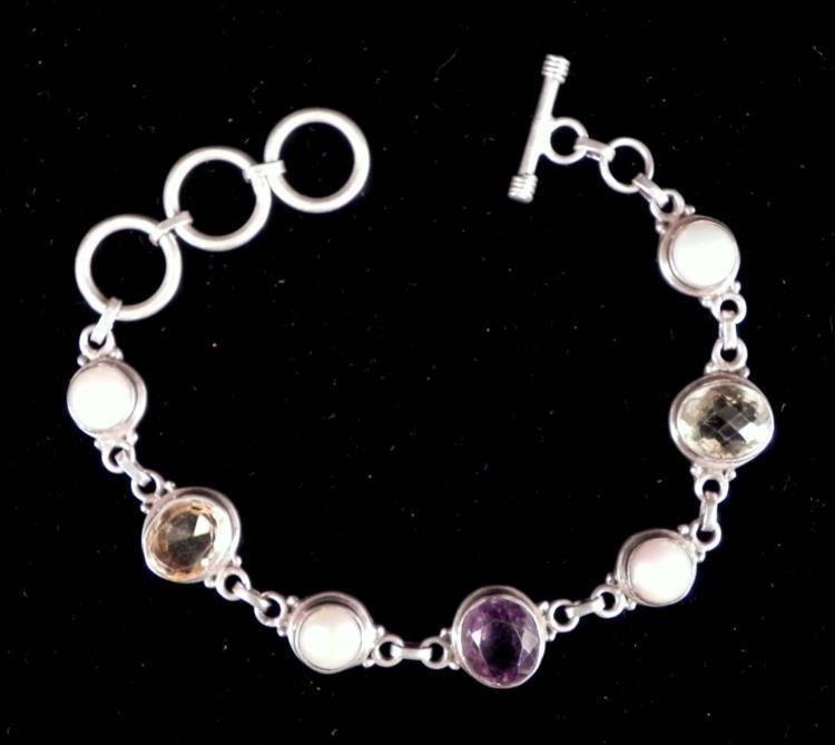 Sterling Silver Tanzanite, Quartz, & Pearl Bracelet