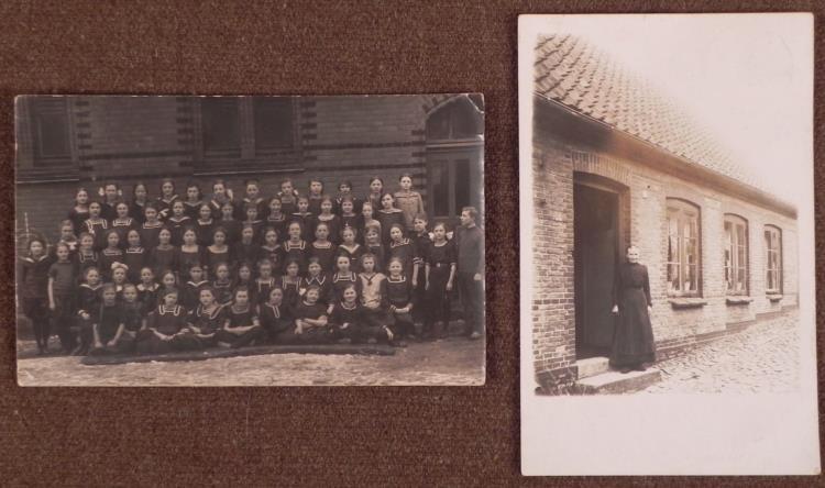 2 GERMAN PHOTO-POSTCARDS-1914-15---WWI GIRLS & LADY