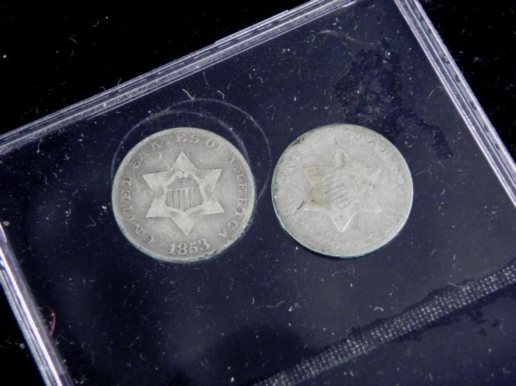 2 Nice Hi Grade 3 Cent Silver Coins 1852-53 Good Detail