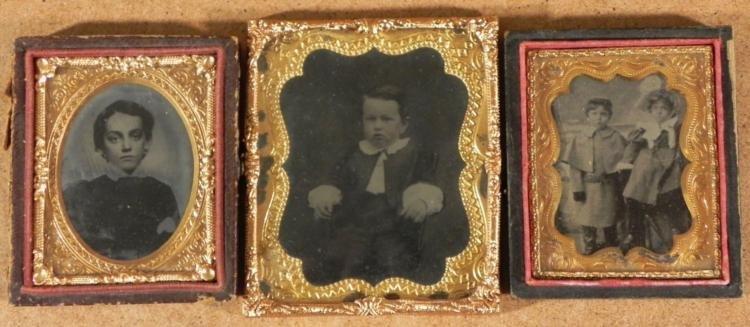 3 Antique Photographs In Cases -Children, Boys, Girl