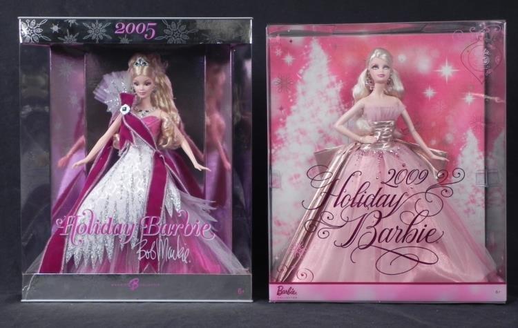 2 Barbie Happy Holidays Dolls-MIB Bob Mackie 2005, 2009