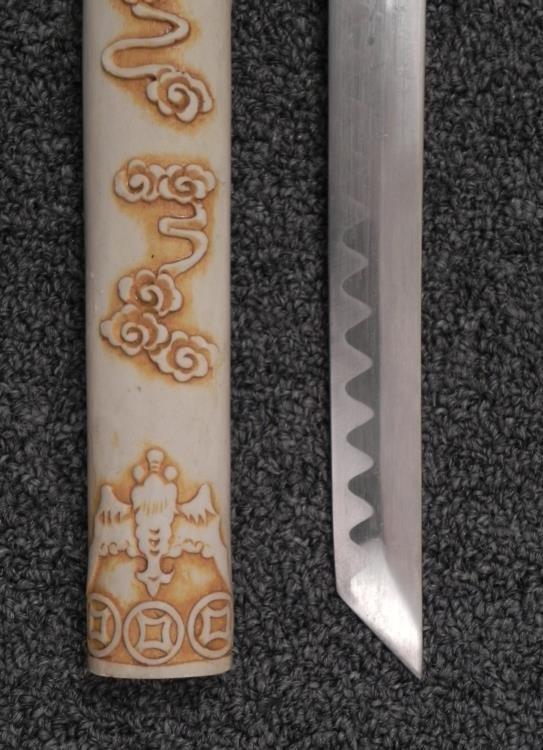 """JAPANESE KATANA SAMURAI SWORD-27"""" BLADE-BONE/IVORY"""