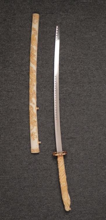 """JAPANESE KATANA SAMURAI SWORD-27"""" BLADE-BONE/IVORY - 2"""