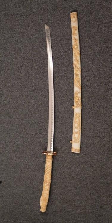 """JAPANESE KATANA SAMURAI SWORD-27"""" BLADE-BONE/IVORY - 3"""