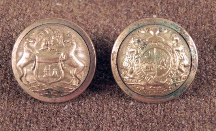 2 Antique Gilt Buttons Civil War Michigan, Missouri