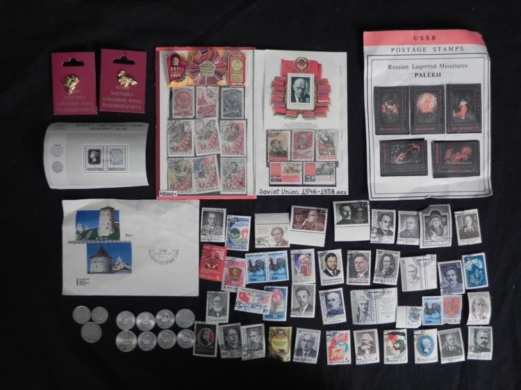 60 pc+ Russian/USSR Collection Coins, Stamps, Pins