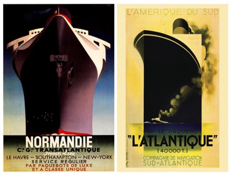 2 Ocean Liner Posters Normandie, L'Atlantique Cassandre