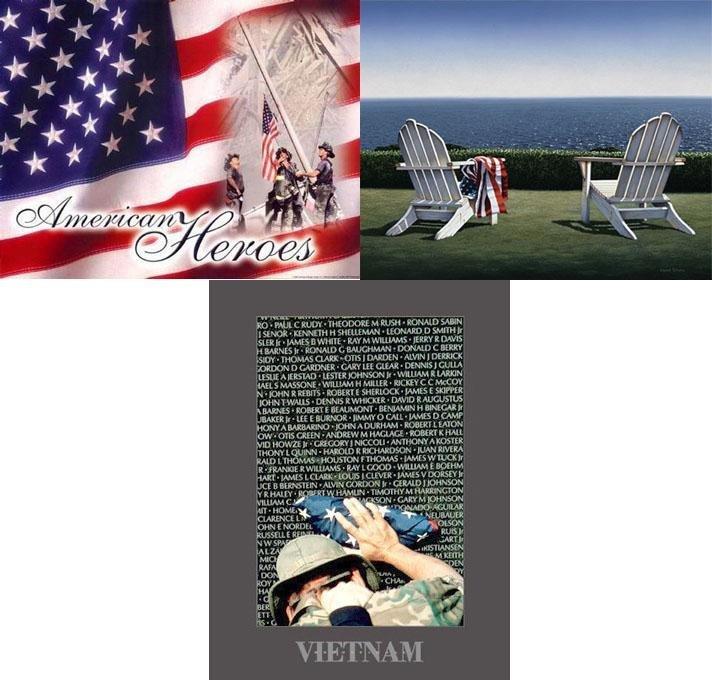 3 Patriotic American Art Prints Vietnam, 9-11