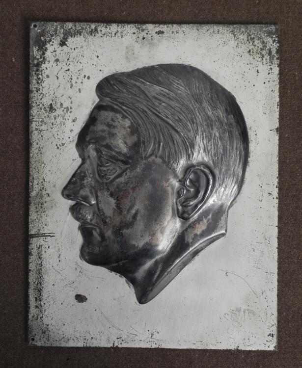 NAZI BUST PLACK OF HITLER-ORIGINAL-MOUNTED ON STEEL