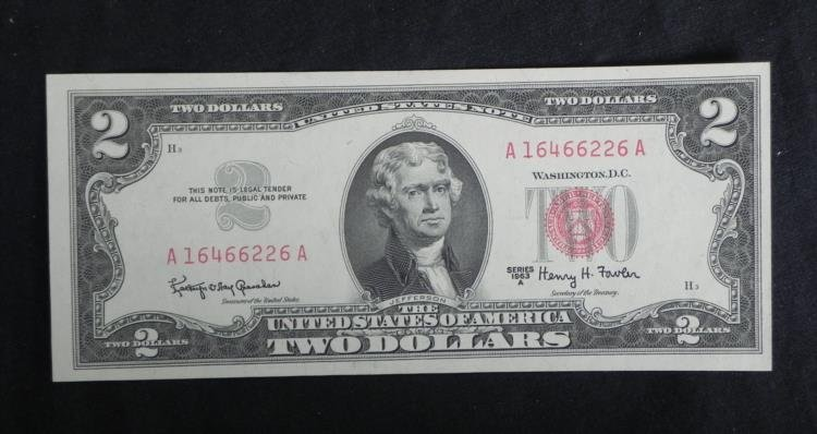 UNC $2 Red Seal Bill 1963A Series