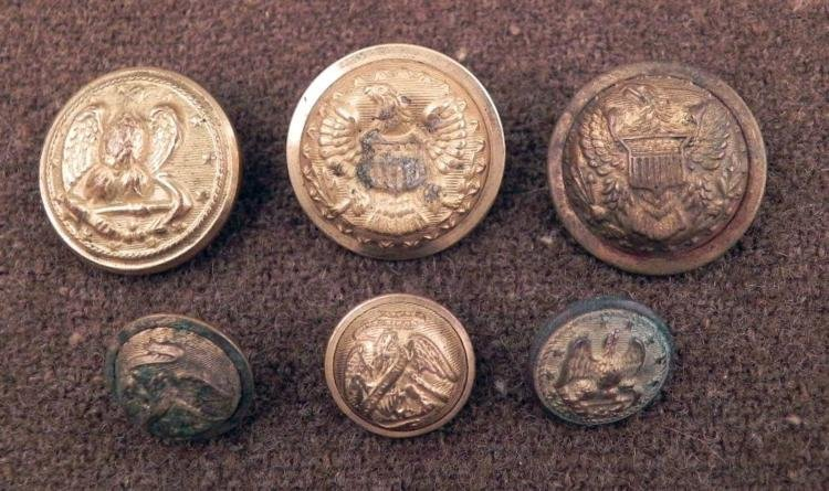 6 Civil War Eagle Gilt Coat Buttons Large, Small