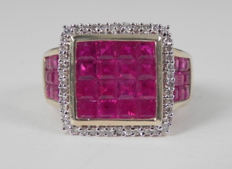 14K Yellow Gold Ruby Diamond Ring-Square Checker Pattrn