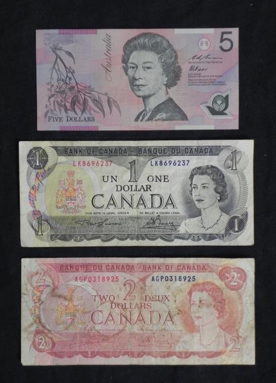 Canada, Australia Old Currency Money 1973-74