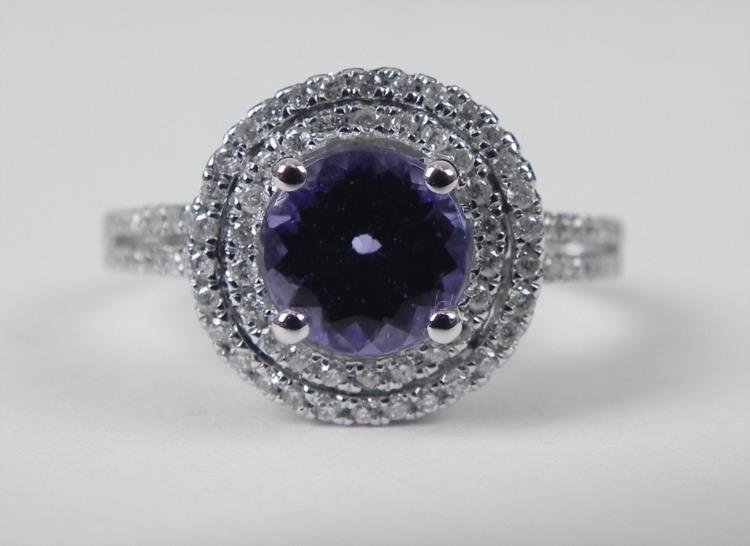 14K White Gold Tanzanite Ring w/Round Stone, Diamonds