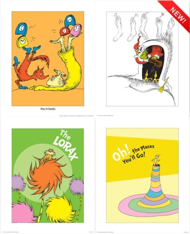 4) Dr Seuss Prints- Lorax Grinch The Places You Will Go