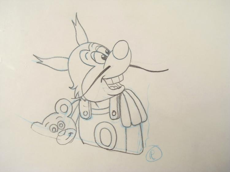 Mighty Mouse Orig Production Drawing Oil Can Harry - 2